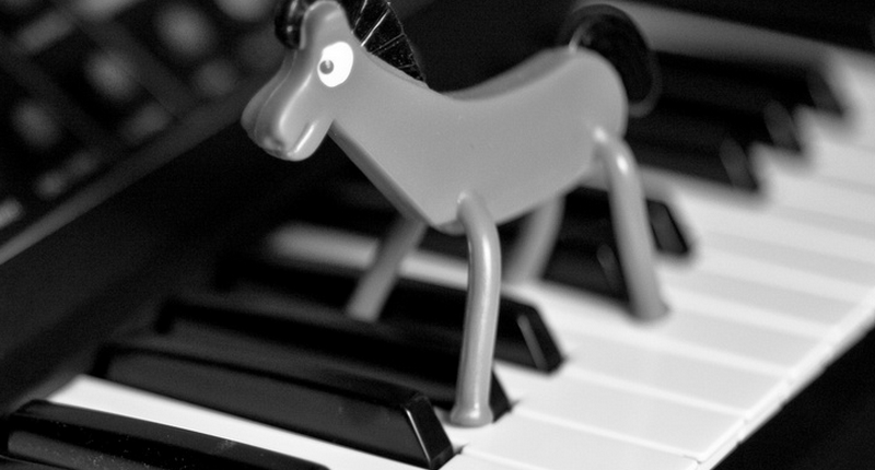 Pokey the Horse on a Moog synthesizer, for no good reason