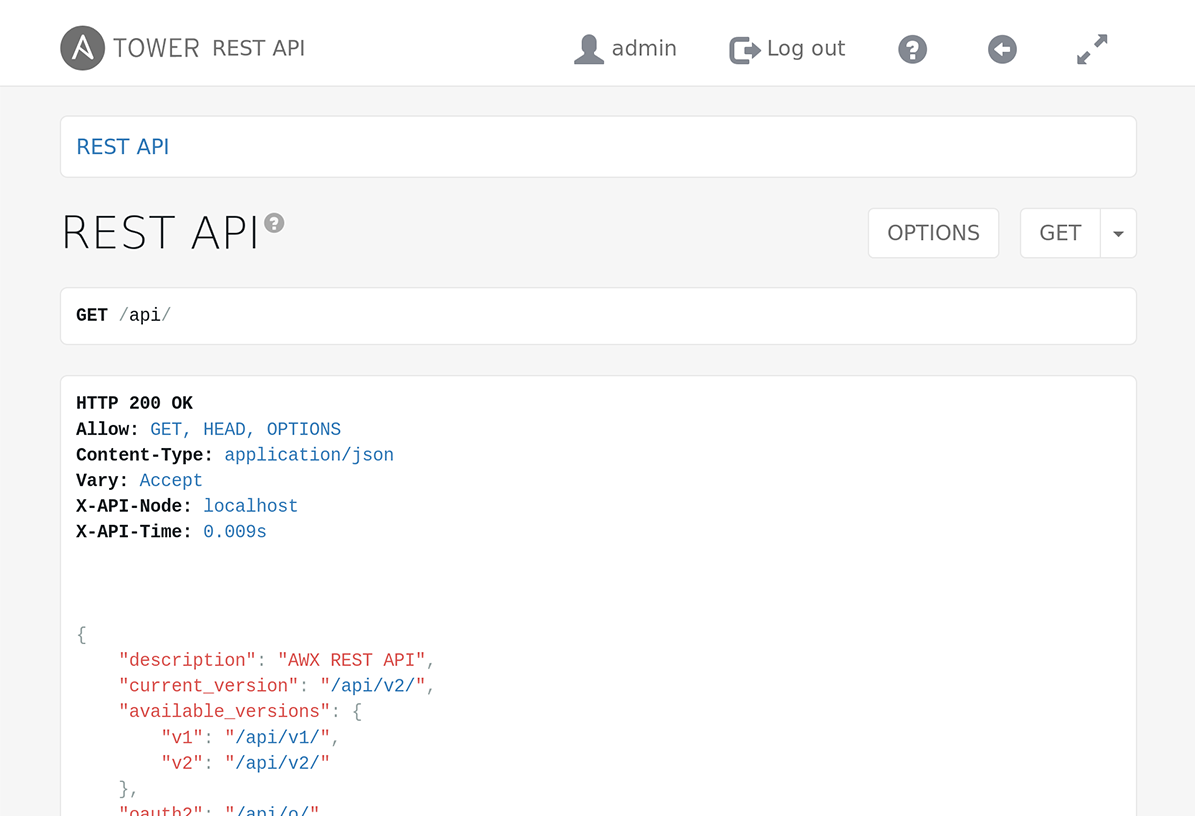 Ansible Tower Rest API