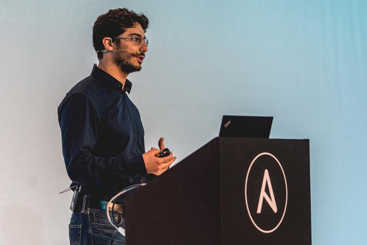 Man presenting at AnsibleFest