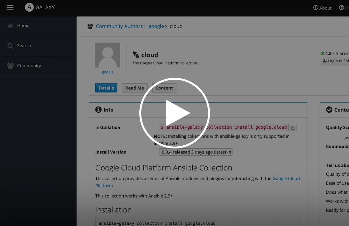 Googlecloud Journey to Ansible Collections