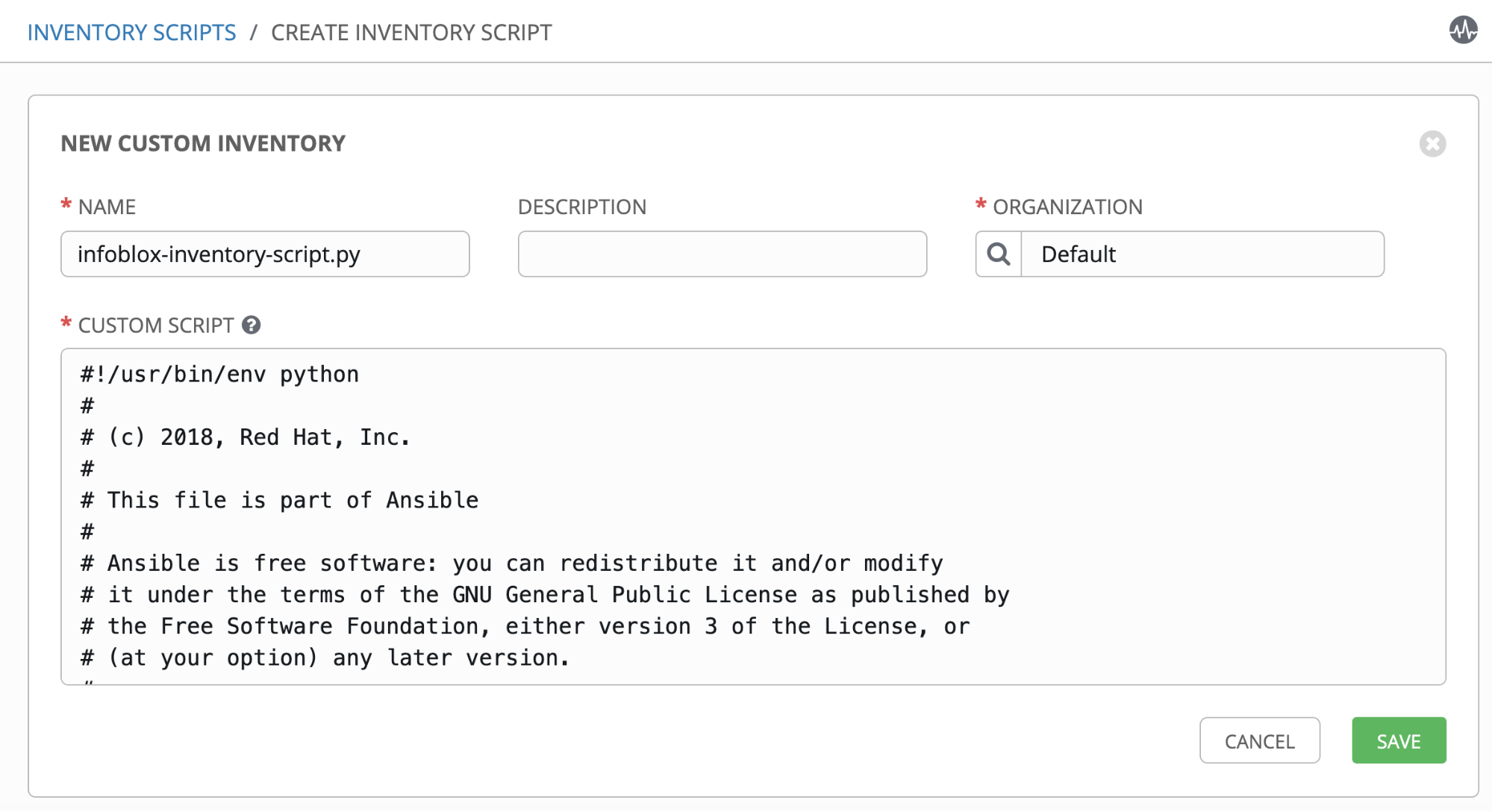 Using Infoblox as a dynamic inventory in Red Hat Ansible Tower