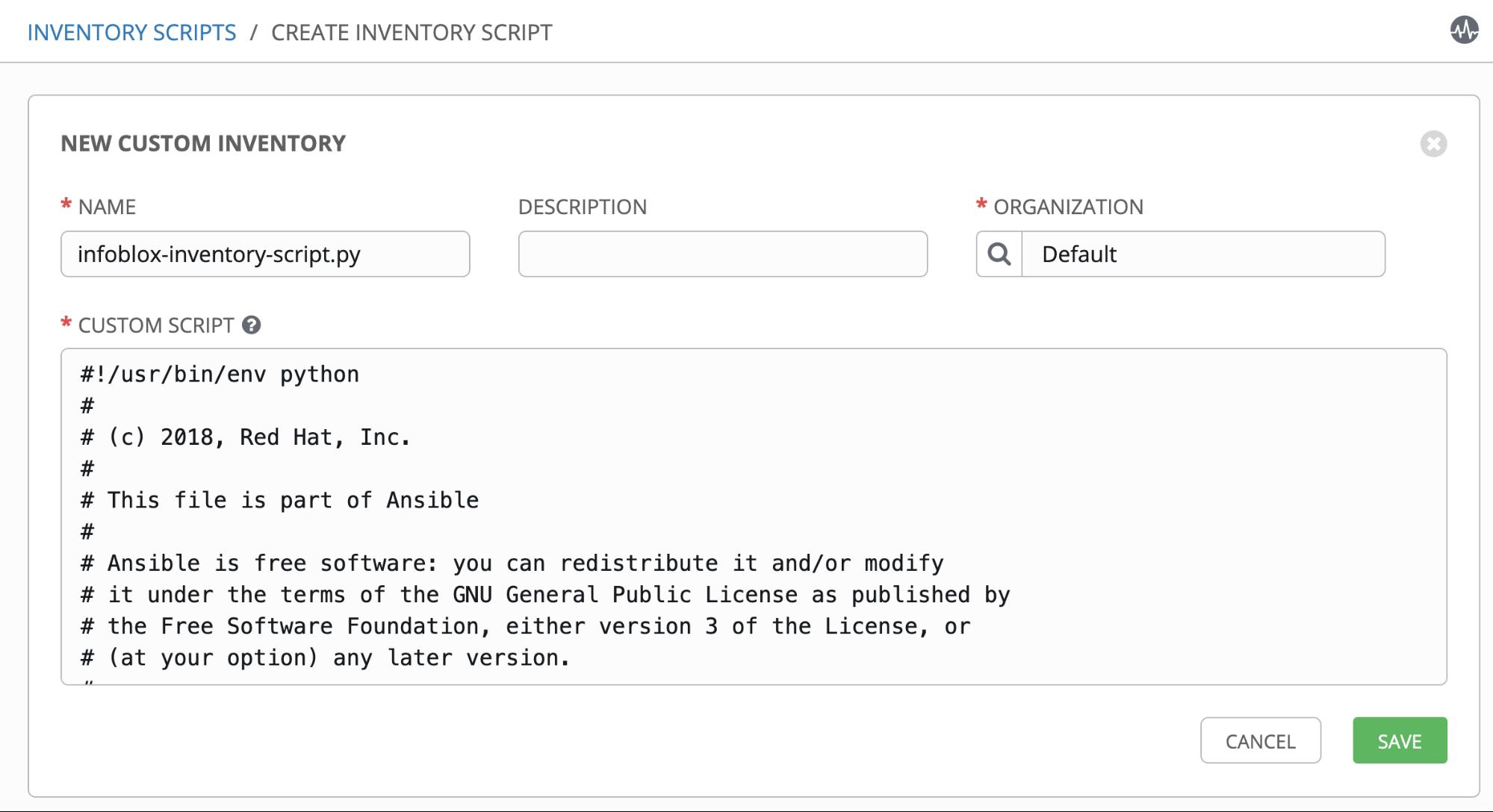 Create inventory script